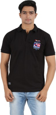 R - Cross Solid Men's Polo Neck Black T-Shirt