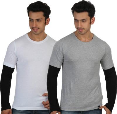 Rigo Solid Men's Round Neck White, Grey T-Shirt