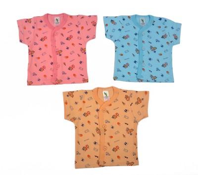 Cucumber Printed Baby Boy's Round Neck Pink, Orange, Blue T-Shirt