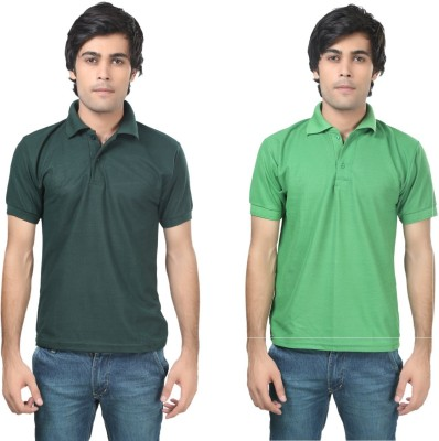 Stylish Trotters Solid Men's Polo Dark Green, Light Green T-Shirt