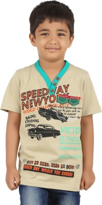 LASTBENCH Solid Boy's V-neck Beige T-Shirt