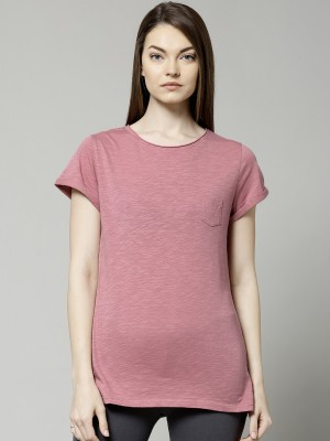 Marks & Spencer Solid Women's Round Neck Pink T-Shirt