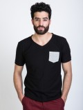 Mr Button Solid Men's V-neck Black T-Shi...