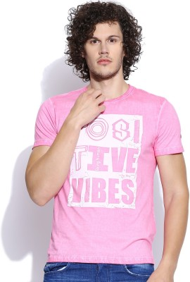 Being Human Clothing Printed Men's Round Neck Pink T-Shirt