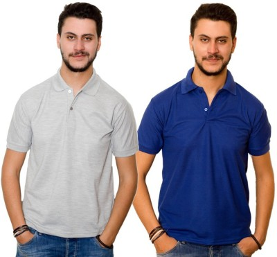 Dreamz Clothing Co Solid Men,s Polo Neck Grey, Blue T-Shirt