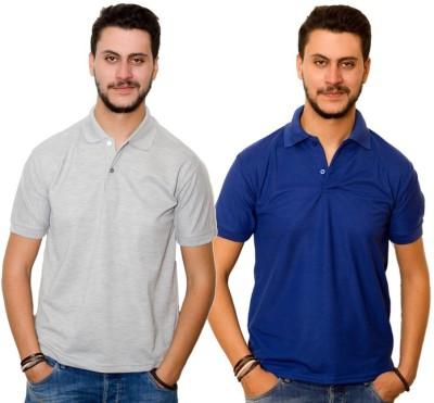 Skitt Clothing Co Solid Men's Polo Neck Grey, Blue T-Shirt