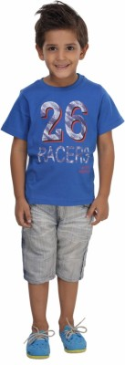 Trmpi Graphic Print Boy's Round Neck Blue T-Shirt