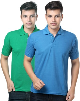 eSOUL Solid Men's Polo Neck Blue, Green T-Shirt