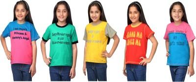 NautieCutie Printed Girl,s Round Neck Multicolor T-Shirt