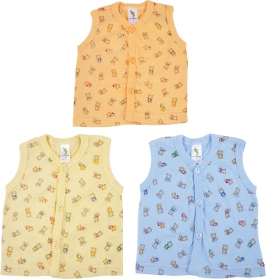 Cucumber Printed Baby Boy's Round Neck Yellow, Orange, Blue T-Shirt
