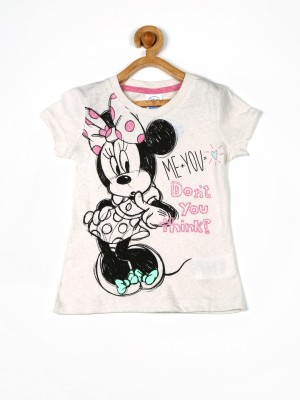 Fox Printed Girl's Round Neck White T-Shirt