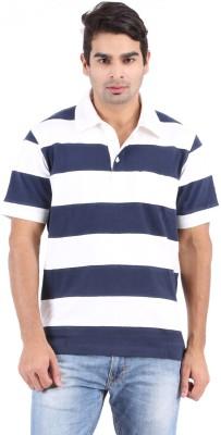 Furore Striped Men's Polo Neck White, Dark Blue T-Shirt