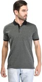 Octave Printed Men's Polo Neck Black T-S...