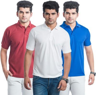 Eprilla Solid Men,s Polo Neck Blue, White, Maroon T-Shirt