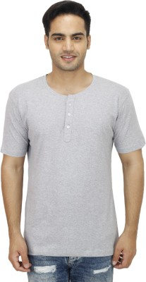 Rakshita Collection Solid Men's Henley Grey T-Shirt