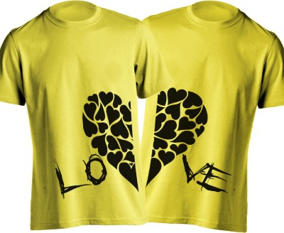 Young Trendz Printed Men,s Round Neck Yellow T-Shirt
