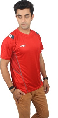 TK Solid Men's Polo Neck Red T-Shirt