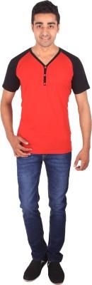 DG Solid Men's Henley Red T-Shirt