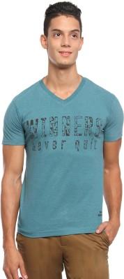 Griffin Sport Printed Men's V-neck Green T-Shirt