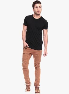 Fabnic Solid Men,s Round Neck Black T-Shirt