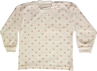 Upside Down Polka Print Baby Girl,s, Baby Boy's Round Neck Pink T-Shirt