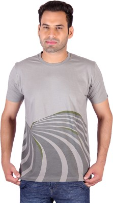 Swag Geometric Print, Striped Men's Round Neck Multicolor T-Shirt