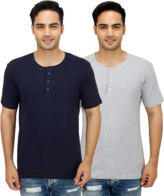 Christy World Solid Men's Henley Multicolor T-Shirt