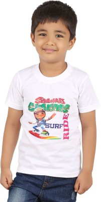 PNR EXPORTS Printed Boy's Round Neck White T-Shirt