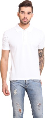 Mode Vetements Solid Men's Polo Neck White T-Shirt