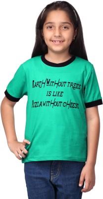 Oleva Printed Girl's Round Neck Light Green T-Shirt