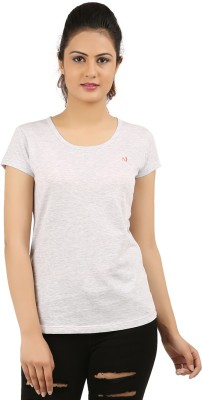 New Darling Solid Women's Round Neck Grey T-Shirt