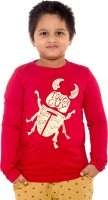 Menthol Boys Printed Cotton T Shirt(Red, Pack of 1)