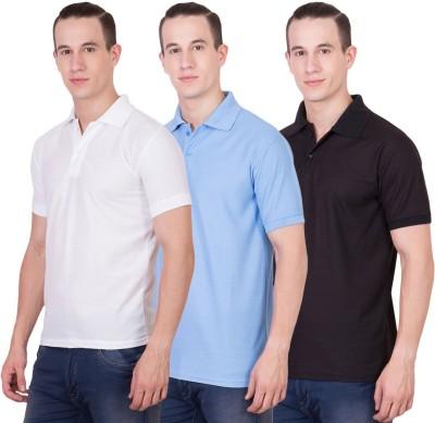 Randier Solid Men's Polo Neck White, Blue, Black T-Shirt