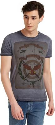Flying Machine Printed Men's Round Neck Grey T-Shirt