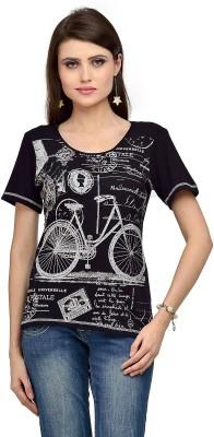 Iracc Printed Women's Round Neck Black T-Shirt