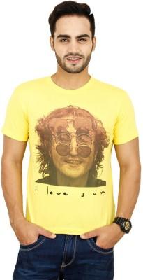 Opiumstreet Printed Men's Round Neck Yellow T-Shirt