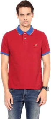 London Bridge Solid Men's Polo Neck Red T-Shirt