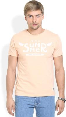 HW Printed Men,s Round Neck Orange T-Shirt