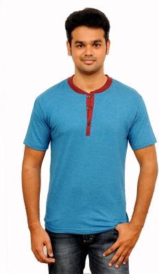 Vagga Self Design, Solid Men's Henley Blue T-Shirt