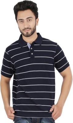 Hoodz Striped Men's Polo Neck Dark Blue T-Shirt