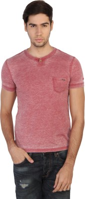 Being Human Solid Men's Henley Red T-Shirt