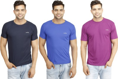 Eprilla Solid Men,s Round Neck Dark Blue, Purple, Blue T-Shirt