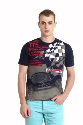 Teen Tees Printed Men,s Round Neck Blue T-Shirt