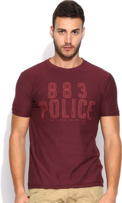 883 Police Graphic Print Men's Round Neck Red T-Shirt