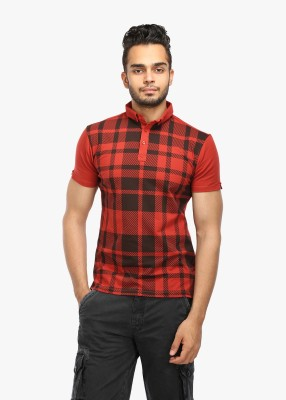 Wear Your Mind Checkered Men's Polo Neck Maroon T-Shirt