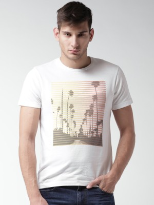 Mast & Harbour Printed Men,s Round Neck White T-Shirt