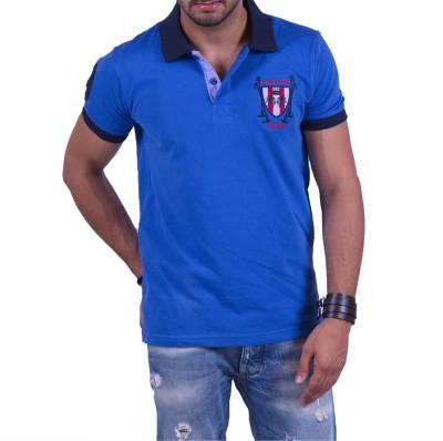 Cotton & Blends Solid Men's Polo Neck Blue T-Shirt