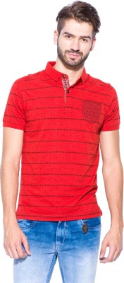 Mufti Printed Men's Polo Neck Red, Black T-Shirt