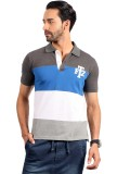 Fitz Striped Men's Polo Neck Dark Blue T...