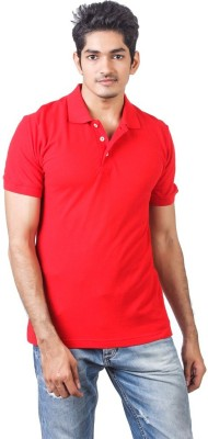 DoubleF Solid Men's Polo Neck Red T-Shirt
